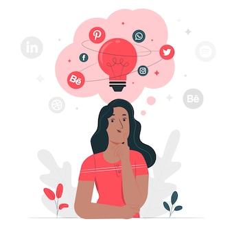Sociale ideeën concept illustratie