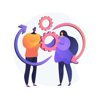 Sociale interactie vaardigheden abstract concept vectorillustratie. communicatieve vaardigheden, opbouwen van sociaal netwerk, interactiebeperking, autisme diagnostiek, activiteiten voor volwassenen abstracte metafoor.