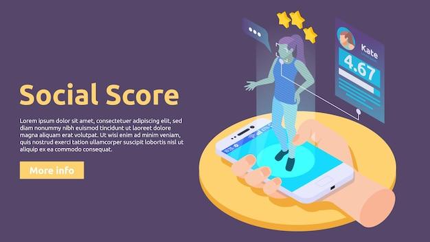 Sociale kredietsysteem isometrische illustratie