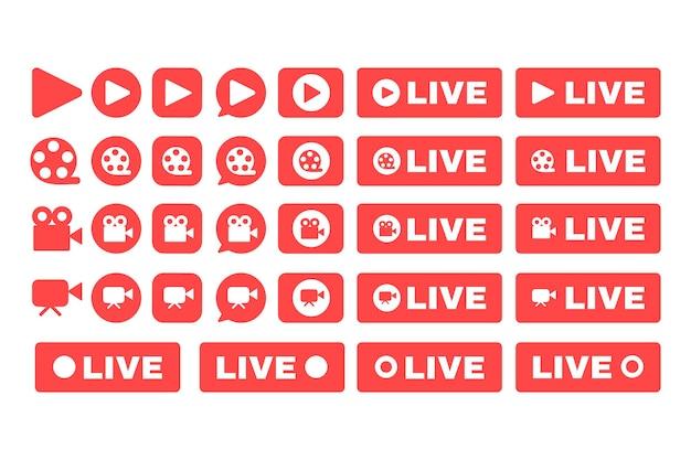 Sociale live stream iconen set. online uitzending knop idee egale kleur illustraties. webstreaming rode badges pack. vector geïsoleerde silhouettekeningen