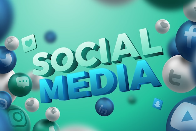 Sociale media achtergrond in 3d