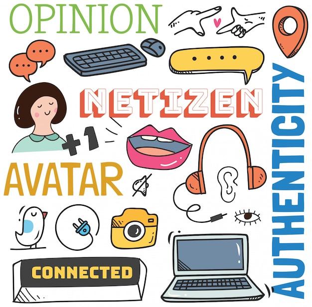 Sociale media achtergrond in doodle stijl illustratie