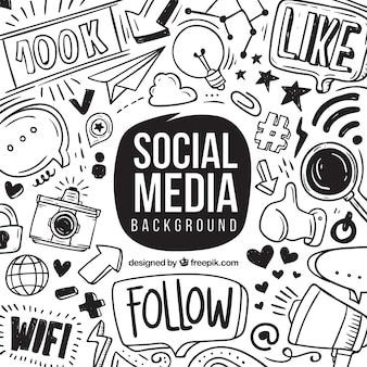 Sociale media achtergrond met hand getrokken elementen