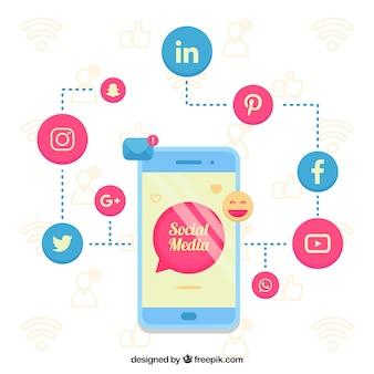 Sociale media achtergrond met platte ontwerp