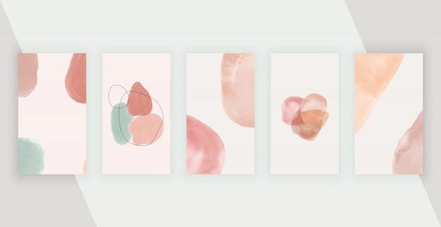 Sociale media-achtergronden met artistieke uit de vrije hand abstracte handschilderingsvormen