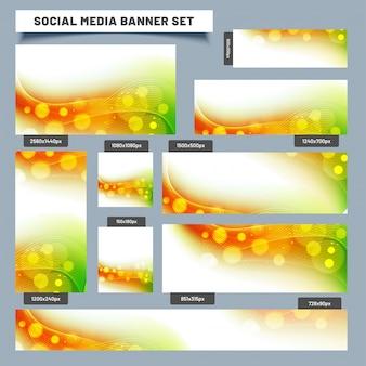 Sociale media banner die met abstracte golvende indische vlagkleuren wordt geplaatst.
