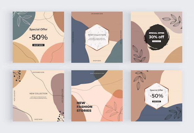 Sociale media banners met geometrische artistieke uit de vrije hand abstracte hand het schilderen vormen, lijnen.