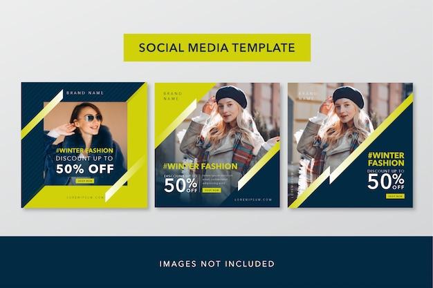 Sociale media bannertemplate geel en blauw