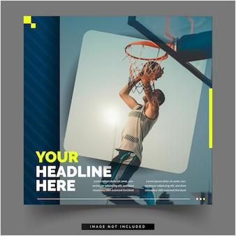 Sociale media basketbal sport sjabloon voor spandoek
