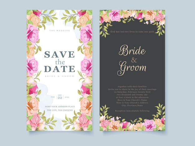 Sociale media bruiloft uitnodiging floral conceptontwerp sjabloon