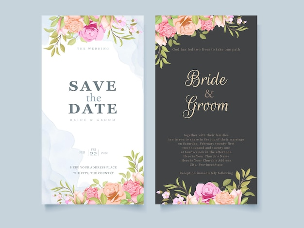 Sociale media bruiloft uitnodiging floral conceptontwerp sjabloon Premium Vector