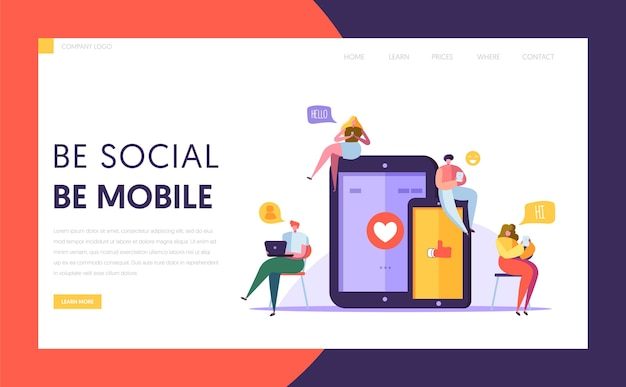 Sociale media communicatietechnologie tekens bestemmingspagina