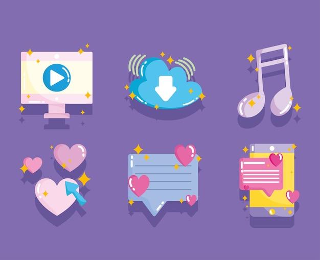 Sociale media, computer videoboodschap muziekgegevens in cartoon-stijl illustratie
