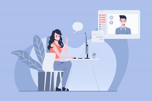 Sociale media concept illustratie. conferentiecommunicatie