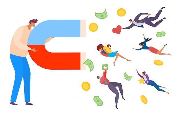 Sociale media concept man met magneet illustratie. zakenman trekt publiek door middel van reclame op internet.