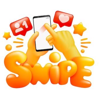Sociale media concept. smartphone in gele emoji handen. veeg gebaar teken. 3d-cartoon stijl