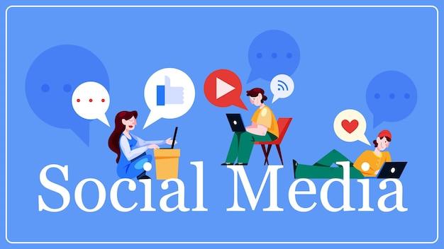 Sociale media concept. wereldwijde communicatie, inhoud delen en feedback krijgen. netwerken gebruiken voor zakelijke promotie. marketingstrategie. illustratie in cartoon-stijl