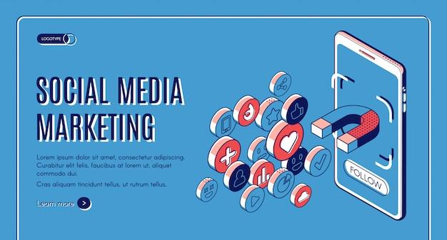 Sociale media die isometrische webbanner op de markt brengen.