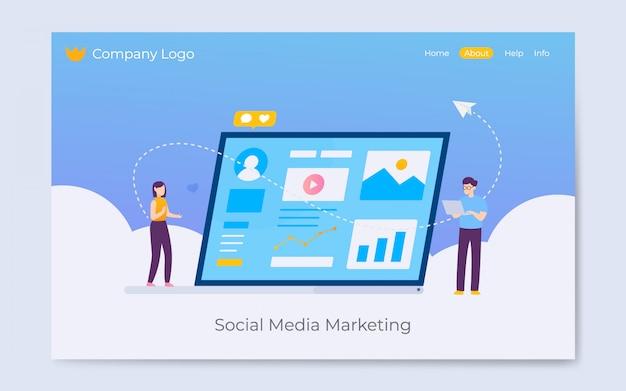 Sociale media die landingspaginaillustratie op de markt brengen