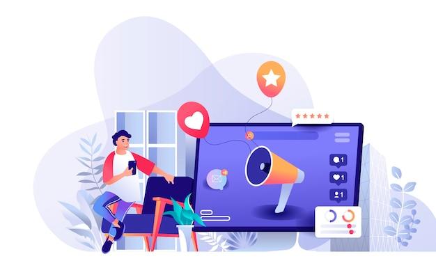 Sociale media die scèneillustratie op de markt brengen van personenkarakters in vlak ontwerpconcept