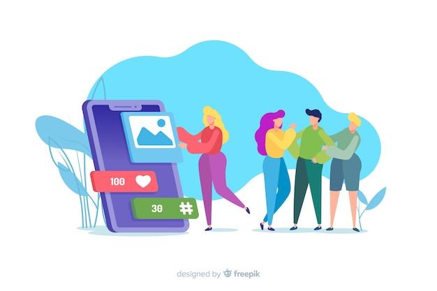 Sociale media doden geïllustreerd vriendschapsconcept