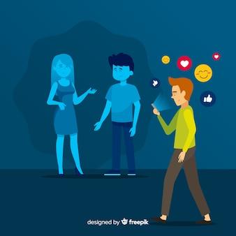 Sociale media doden vriendschapsconcept