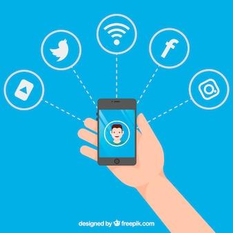 Sociale media elementenachtergrond in vlakke stijl