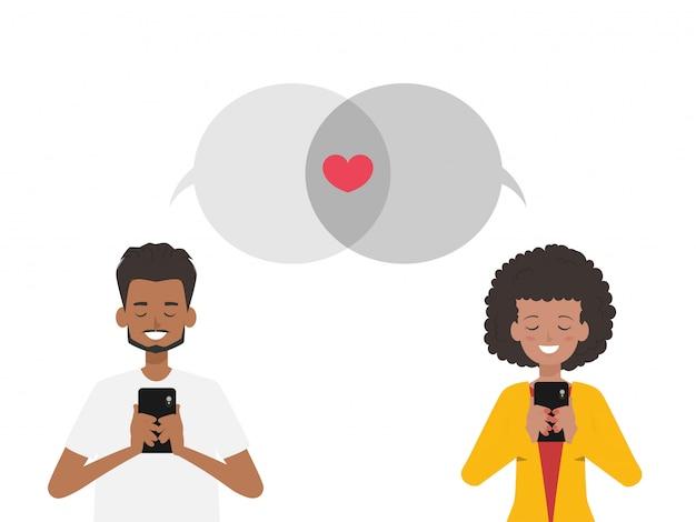 Sociale media en communicatie op valentijnsdag.