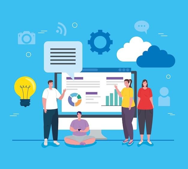 Sociale media, groep mensen met computer en infographics rapporteren afbeelding ontwerp