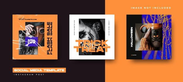 Sociale media instellen ontwerpsjabloon voor halloween-evenement. instagram post ontwerp