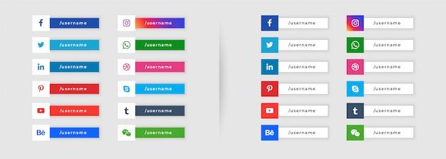 Sociale media knopstijl onderste derde ontwerp