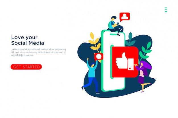 Sociale media leven met vlakke illustratie