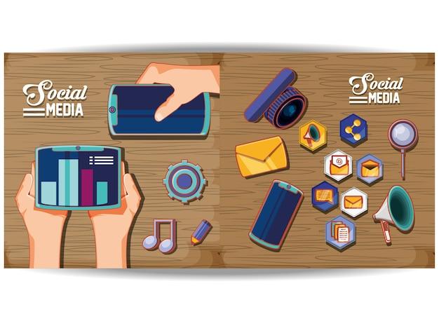Sociale media marketing iconen vector illustratie ontwerp