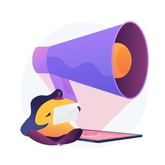 Sociale media marketing. publieksattractiecampagne, reclamebusiness, openbare aankondiging. internetbeïnvloeder met megafoon stripfiguur.