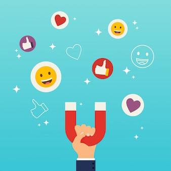 Sociale media marketingconcept. de magneet die van de handholding sympathieën, harten en reactiesmileys aantrekt.