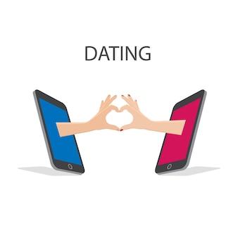 Sociale media met telefoon, met de hand gebruik liefde teken