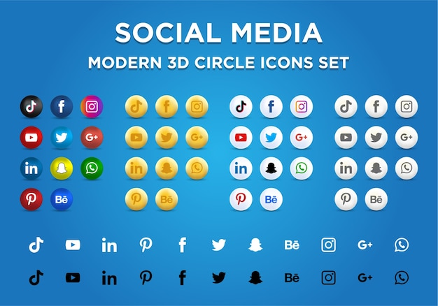 Sociale media moderne 3d geplaatste cirkelpictogrammen