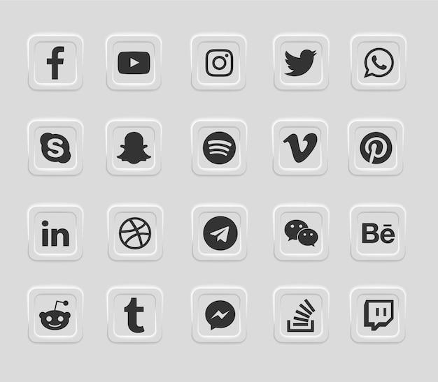 Sociale media moderne geplaatste webpictogrammen