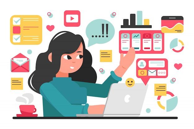 Sociale media, netwerk, freelance, bedrijfsconcept