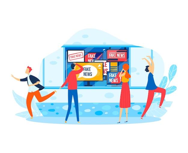 Sociale media op schermtechnologie, mensen reageren op internet nepnieuwsillustratie. online computer, tv met platte informatie. draadloze communicatie levensstijl, inhoud op apparaat.