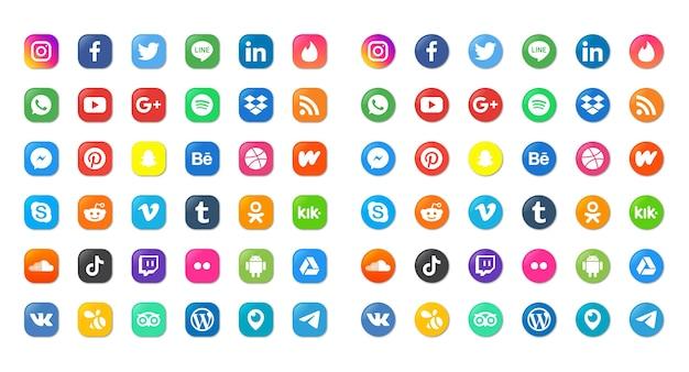 Sociale media pictogrammen geplaatst geïsoleerd