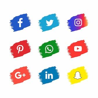 Sociale media pictogrammen in penseelstreek stijl