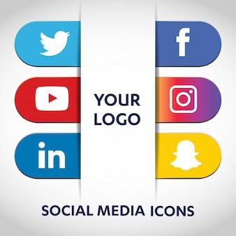 Sociale media pictogrammen instellen netwerk achtergrond. vrolijk gezicht. delen, leuk vinden, reageren