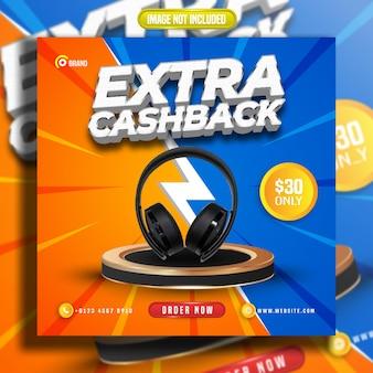 Sociale media plaatsen extra cashback-stripstijl