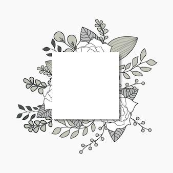 Sociale media plaatsen grijze bloemen vlakke illustratie