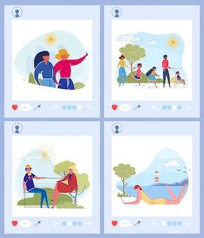 Sociale media plaatsen platte illustraties instellen
