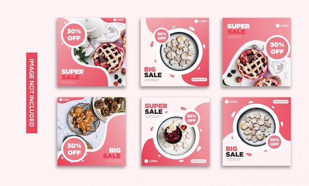 Sociale media post sjabloonverzameling instagram voedsel roze