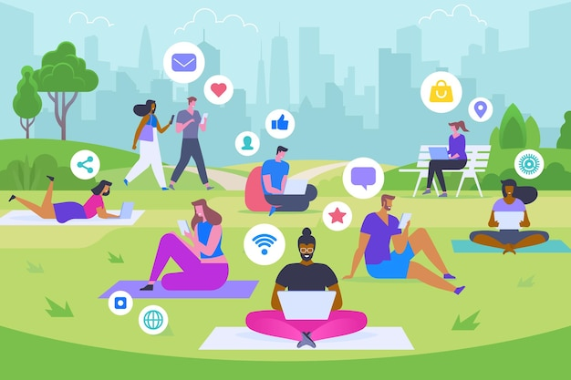 Sociale media recreatie platte vectorillustratie. gelukkige mannen en vrouwen in park met gadgets stripfiguren. moderne vrije tijd, trendy tijdverdrijf, online lifestyle concept. jongeren die op internet surfen