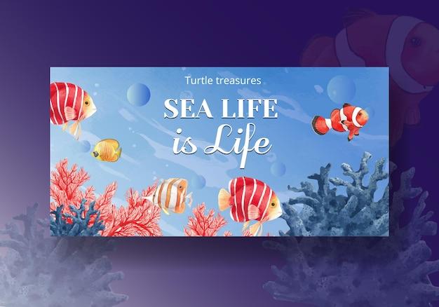 Sociale media sjabloon met zee leven conceptontwerp aquarel illustratie
