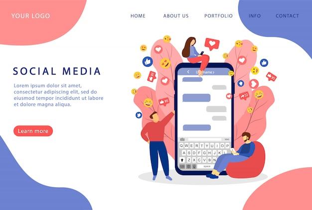 Sociale media. sociaal netwerken. sociale marketing. bestemmingspagina. moderne webpagina's voor websites.